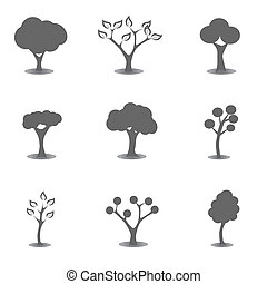 Various tree silhouettes
