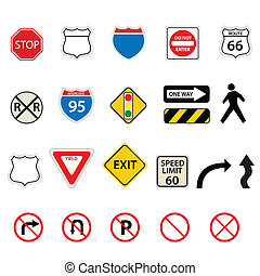 Traffic and road signs - Various traffic and road signs
