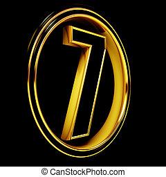 Gold Black Font Letter seven - 3D Letter seven in circle...