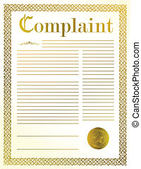 complaint legal document illustration design with golden...