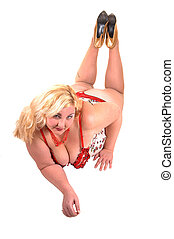 Big girl - An big overweight woman lying on the floor on her...