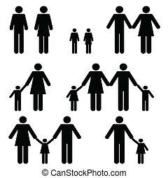 unique, deux, parent, Familles