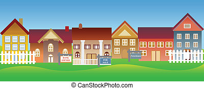 Houses for sale and foreclosure in a suburban neighborhood
