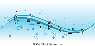 Music notes - Musical notes on blue and white swirls