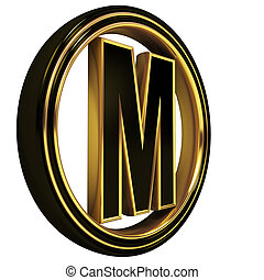 Gold Black Font Letter m - 3D Letter m in circle. Black gold...