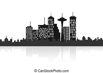 Urban city skyline - Big city skyline with skyscrapers