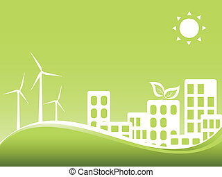 Green city with wind turbines - Green city utilizing wind...