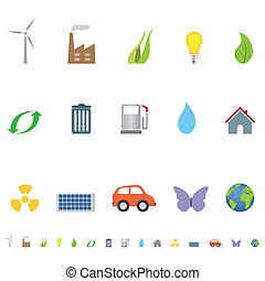 Eco symbols and icons - Eco and environment symbols and...
