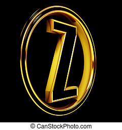 Gold Black Font Letter z - 3D Letter z in circle Black gold...