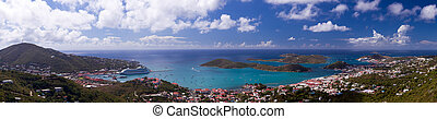 Town of Charlotte Amalie and Harbor - Aerial view of...
