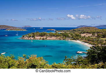 Caneel Bay on St John - Panorama of Caneel Bay on the...
