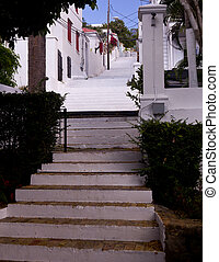 Steep steps in St Thomas - Steps up the steep hill town of...