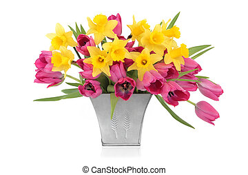 Tulip and Daffodil Beauty - Pink tulips and daffodil flowers...