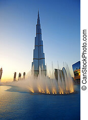 Burj Khalifa fountains - The Dubai fountain show with Burj...
