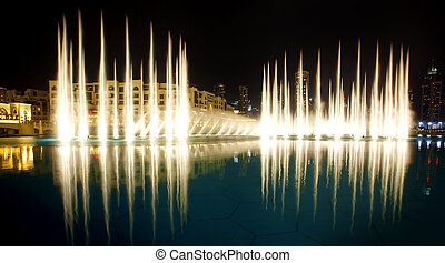 The Dubai Fountain - Nightscene of the Dubai Fountain show...