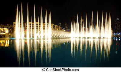 The Dubai Fountain - Nightscene of the Dubai Fountain show...
