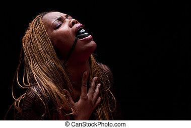 Bondage portrait woman - Young african american portrait...