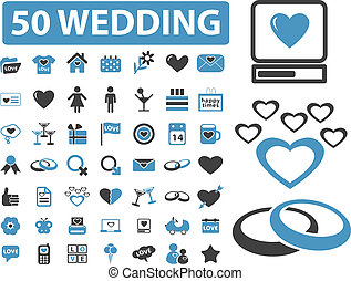 50 wedding signs - 50 wedding top signs, vector