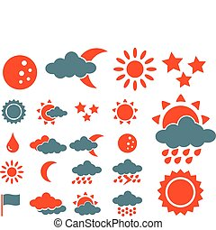 weather icons - weather cute web icons, vector