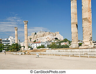 ruins on Temple of Zeus in Athens