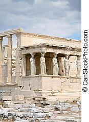 cariátides,  erechtheum, templo, pórtico