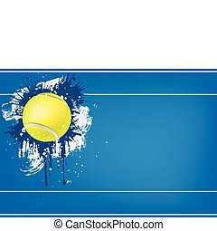 Tennis ball on Blue background. Vector. Computer Graphic.