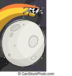 Cow Jumps the Moon - Happy cow leaps over the moon with the...
