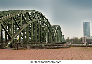 View along the cathedral bridge in Koeln Cologne Koln...