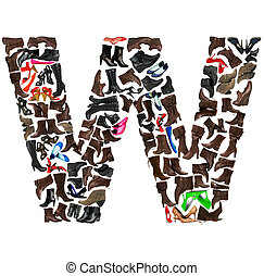 Font made of hundreds of shoes - Letter W