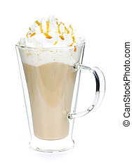 Caffe latte coffee with whipped cream isolated on white...