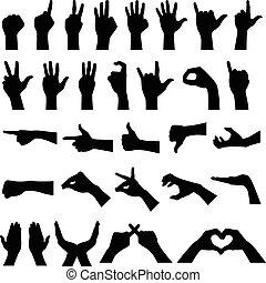 mão, sinal, gesto, silhuetas