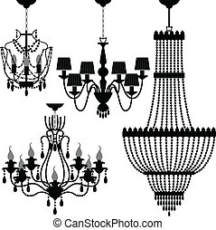 Chandelier Black Silhouette - A set of light and chandelier...