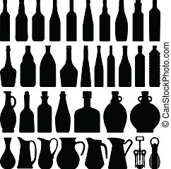 Wine Beer Bottle - A set of wine beer bottle in silhouette.
