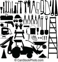 construção, ferramenta, silueta, vetorial
