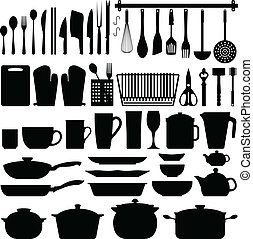廚房, 器具, 黑色半面畫像, 矢量