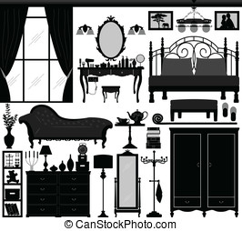 Bedroom Home Interior Design Set - A set of bedroom design...