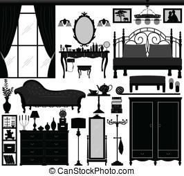 dormitorio, hogar, interior, diseño, Conjunto