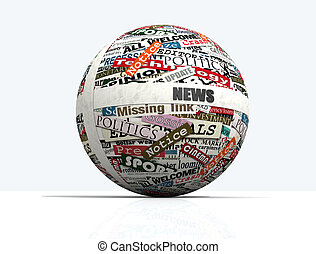 news globe - conceptual, sphere realized with clippings of...