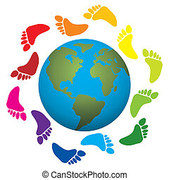 foot prints around the earth - vector illustration of foot...