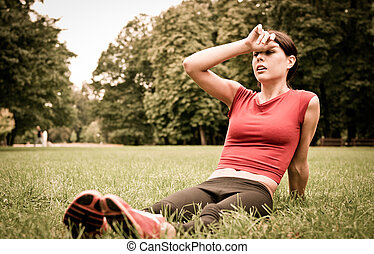 mulher, relaxe, capim,  -, desporto, cansadas, após