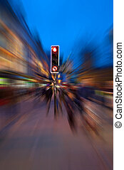 Stop the chaos - A traffic light surrounded by radial motion...