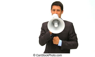 Man shouting through a megaphone isolated on a white...