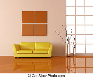 yellow couch in a modern living room - rendering