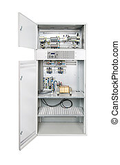 Electrical enclosure with open door - Electrical enclosure...