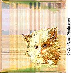 ginger kitten over checked background