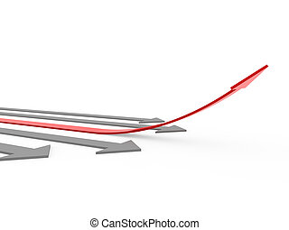 3d red gray arrow high