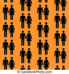 Seamless pattern with silhouettes of the person of different...