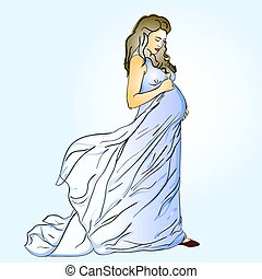 The beautiful pregnant woman in a long dress