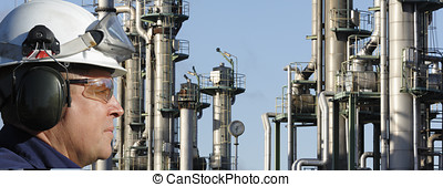 oil worker and refinery - chemical engineer in close-ups and...
