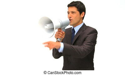 Businessman speaking through a megaphone isolated on a white...
